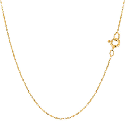 14k Yellow Gold  Rope Chain Necklace, 0.4mm - JewelryAffairs  - 1