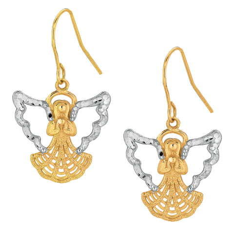 10k 2 Tone Yellow And White Gold Angel Drop Earrings