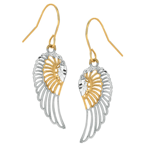 10k 2 Tone Yellow And White Gold Diamond Cut Angel Wings Drop Earrings