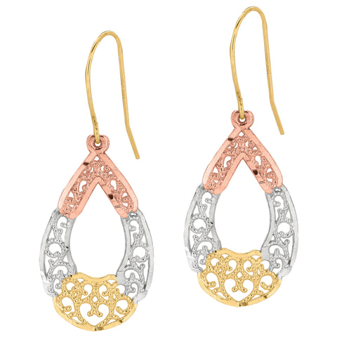 10k 3 Color Yellow White Rose Gold Fancy Teardrop Millgrain Drop Earrings
