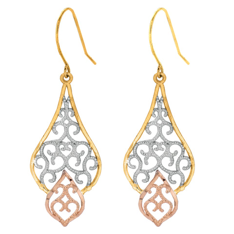 10k 3 Color Yellow White Rose Gold Drop Fancy Millgrain Earrings