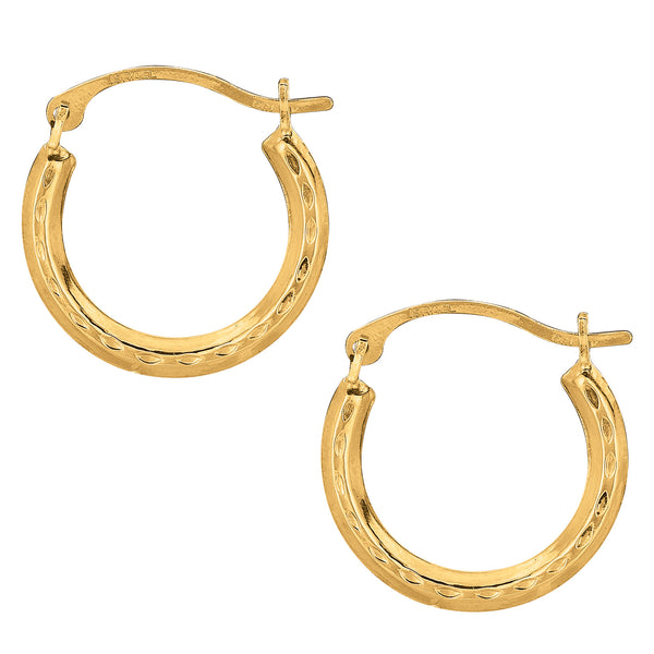 10k Yellow Gold Shiny Diamond Cut Round Hoop Earrings, Diameter 15mm
