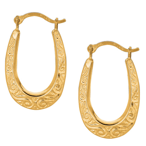 10k Yellow Gold Shiny Swirl Design Oval Hoop Earrings, Length 20mm