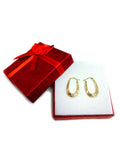 10k Yellow Gold Shiny Swirl Design Oval Hoop Earrings, Diameter  20mm - JewelryAffairs  - 4