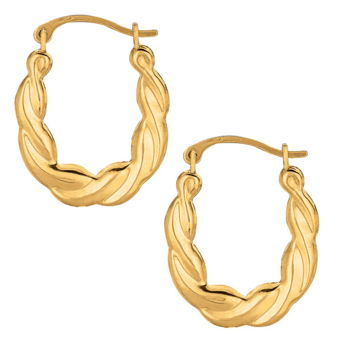 10k Yellow Gold Shiny Twisted Oval Hoop Earrings, Diameter 20mm