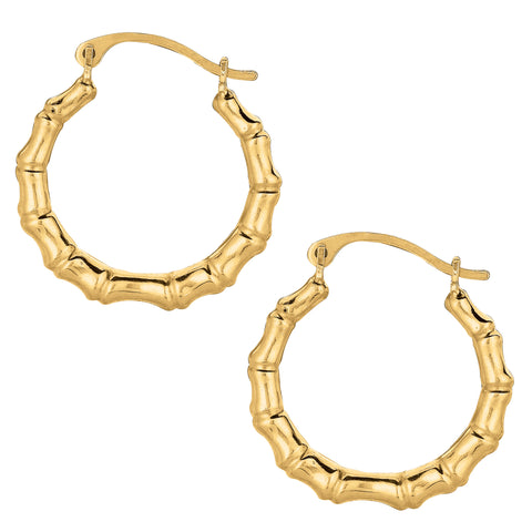 10k Yellow Gold Shiny Bamboo Round Hoop Earrings, Diameter  18mm - JewelryAffairs  - 1