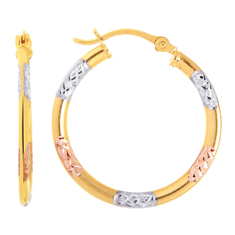 10k Tricolor White Yellow And Rose Gold Diamond Cut Round Hoop Earrings, Diameter 20mm