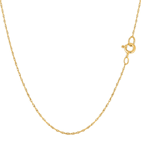 14k Yellow Gold  Rope Chain Necklace, 0.5mm - JewelryAffairs  - 1