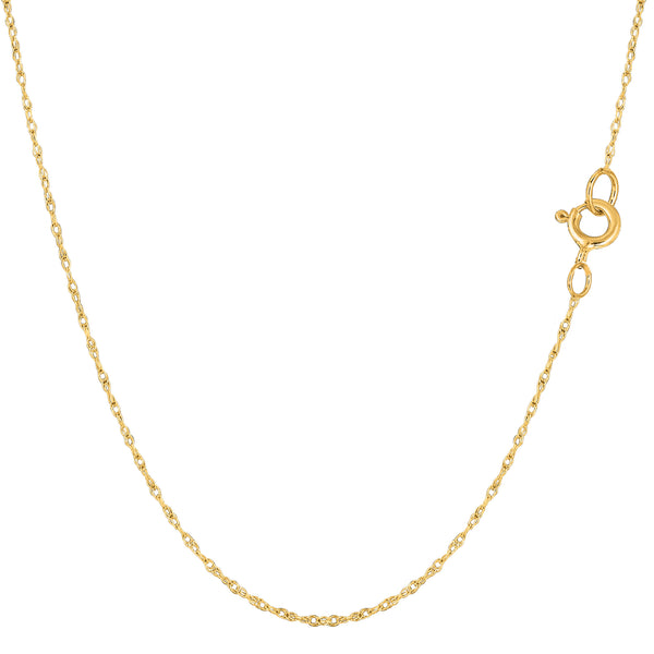 14k Yellow Gold Rope Chain Necklace, 0.6mm