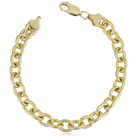 14K Yellow Gold Filled Rolo Chain Bracelet, 7.6mm, 8.5""