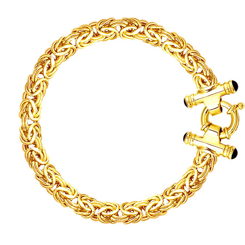 14k Yellow Gold Byzantine Link Bracelet, 8mm, 7.25""