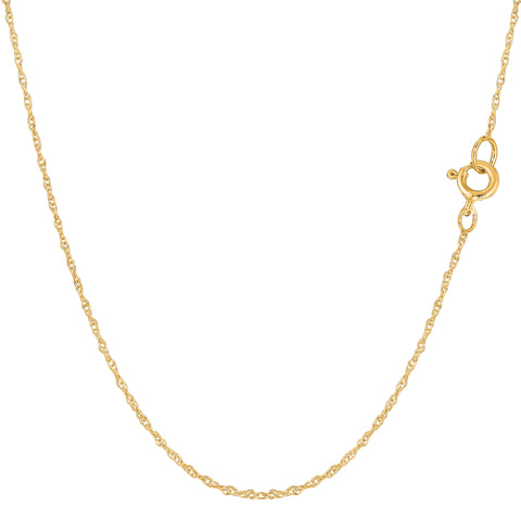 14k Yellow Gold  Rope Chain Necklace, 0.7mm