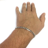 14k White Solid Gold Miami Cuban Link Chain Mens Bracelet, 5.7mm, 8.5""