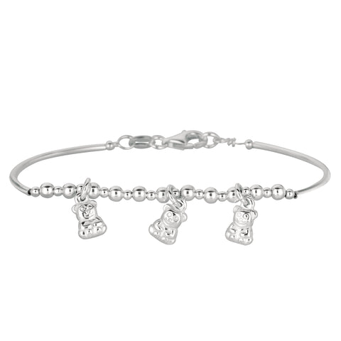 Baby Bangle With Dangling Teddy Bear Charms In Sterling Silver - 5.5 Inch - JewelryAffairs  - 1