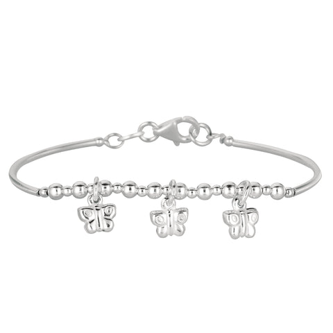 Baby Bangle Bracelet With Dangling Butterfly Charms In Sterling Silver - 5.5 Inch - JewelryAffairs  - 1