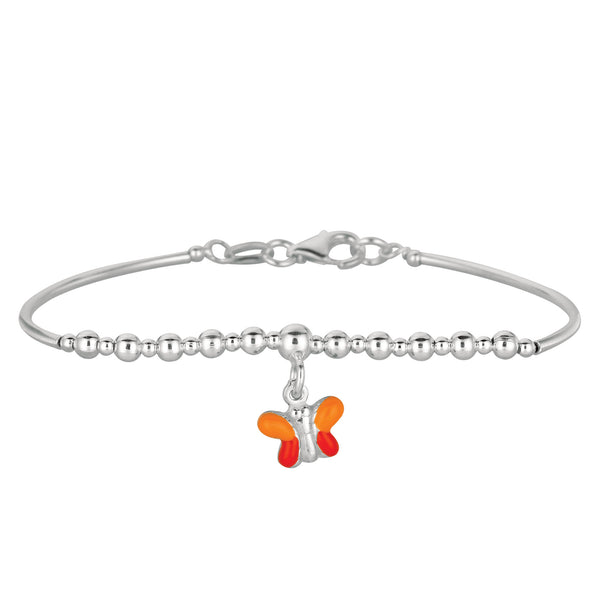 Baby Bangle Bracelet With Dangling Enameled Butterfly Charm In Sterling Silver - 5.5 Inch - JewelryAffairs  - 1