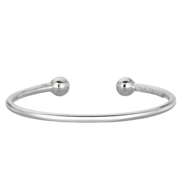 Baby Cuff Bangle In Sterling Silver - 5.5 Inch - JewelryAffairs  - 1
