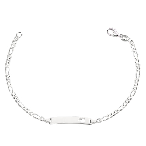 Figaro Chain Baby Id Bracelet In Sterling Silver - 6 Inches - JewelryAffairs  - 1