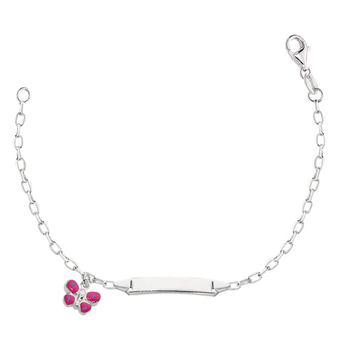 Oval Rolo Chain Baby Id Bracelet With Butterfly Dangle Charm In Sterling Silver - 6 Inches - JewelryAffairs  - 1