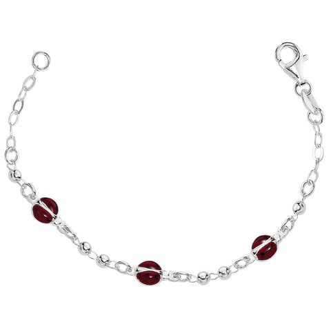 Baby Bracelet With Enameled Ladybug Charms In Sterling Silver - 6 Inches - JewelryAffairs  - 1