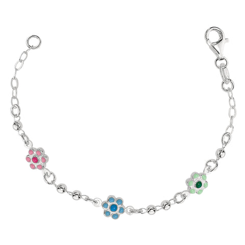 Baby Bracelet With Enameled Flower Charms In Sterling Silver - 6 Inches - JewelryAffairs  - 1