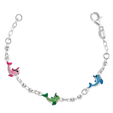 Baby Bracelet With Colorful Dolphin Charms In Sterling Silver - 6 Inches - JewelryAffairs  - 1