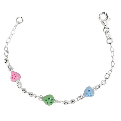 Baby Bracelet With Colorful Heart Charms In Sterling Silver - 6 Inches - JewelryAffairs  - 1