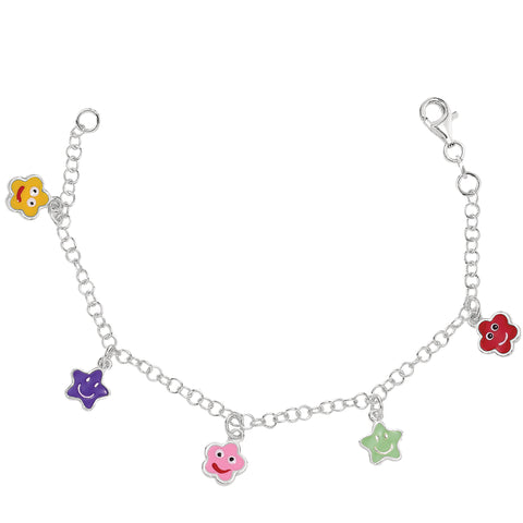 Baby Bracelet With Colorful Dangling Star Charms In Sterling Silver - 6 Inches - JewelryAffairs  - 1