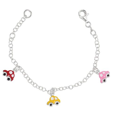 Baby Bracelet With Colorful Dangling Car Charms In Sterling Silver - 6 Inches - JewelryAffairs  - 1