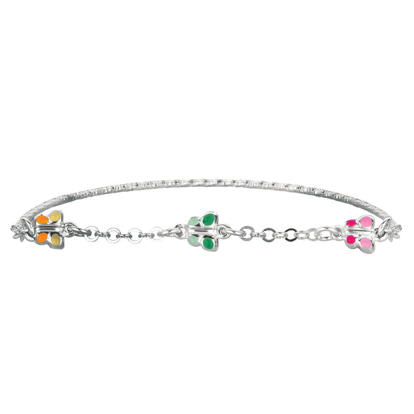 Baby Bangle Bracelet With Butterfly Enameled Charms In Sterling Silver - 5.5 Inch - JewelryAffairs  - 1