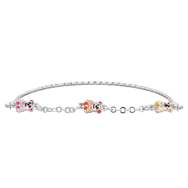 Baby Bangle Bracelet With Teddy Bear Enameled Charms In Sterling Silver - 5.5 Inch - JewelryAffairs  - 1