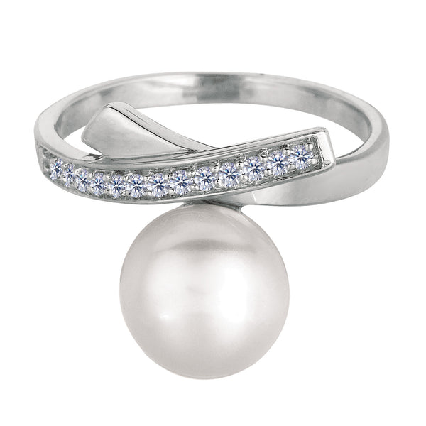 Sterling Silver With Rhodium Finish Cross Over Design Pearl And Cubic Zirconia Ring - JewelryAffairs  - 1