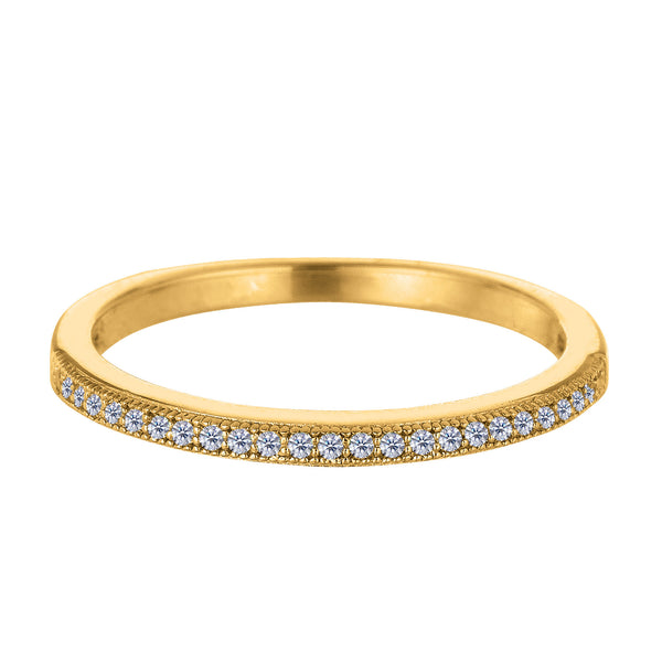 Sterling Silver Yellow Tone Finish Milgrain Stackable Ring With Pave' Set Cz Stones - JewelryAffairs  - 1