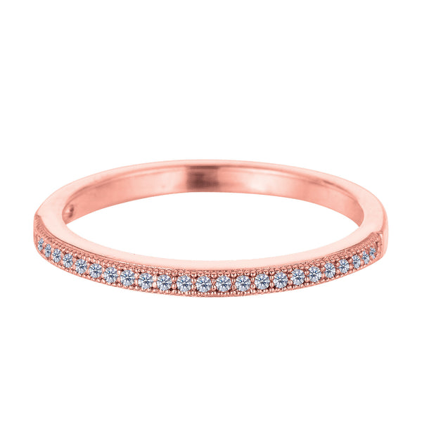 Sterling Silver Rose Tone Finish Milgrain Stackable Ring With Pave' Set Cz Stones - JewelryAffairs  - 1