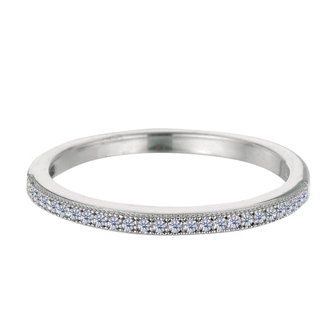 Sterling Silver Rhodium Finish Milgrain Stackable Ring With Pave' Set Cz Stones - JewelryAffairs  - 1