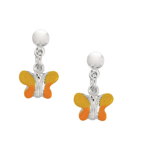 Yellow Enamel Butterfly Dangle Earrings In Sterling Silver - JewelryAffairs  - 1