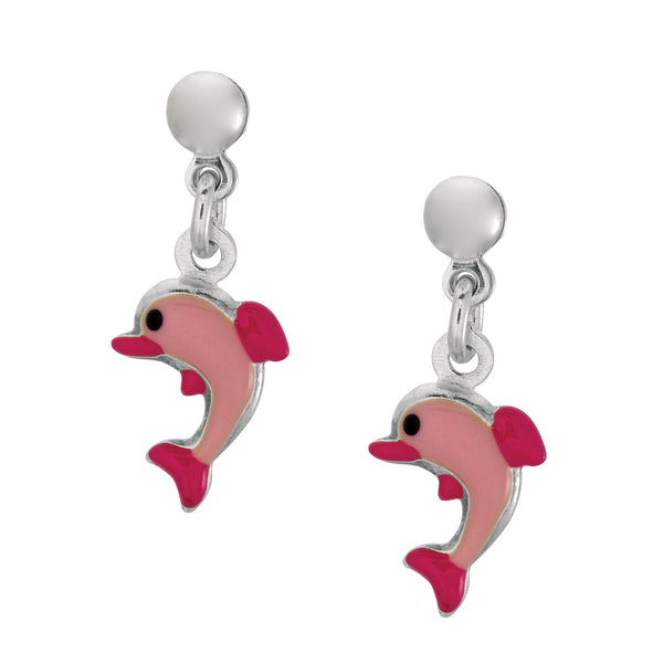 Pink Enamel Dolphin Dangle Earrings In Sterling Silver - JewelryAffairs  - 1