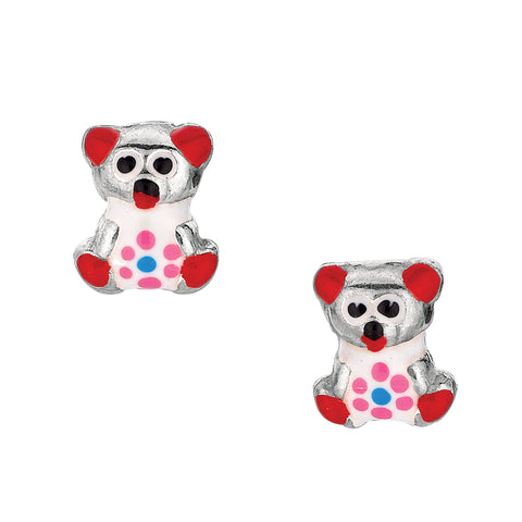 Red Theme Enamel Kids Teddy Bear Stud Earrings In Sterling Silver - JewelryAffairs  - 1
