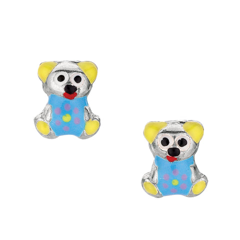 Blue Theme Enamel Kids Teddy Bear Stud Earrings In Sterling Silver - JewelryAffairs  - 1