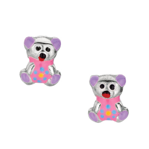 Purple Theme Enamel Kids Teddy Bear Stud Earrings In Sterling Silver - JewelryAffairs  - 1