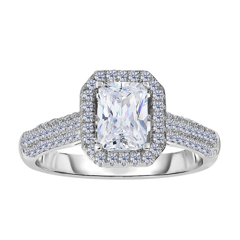 Sterling Silver With Rhodium Finish With Radiant Center And Pave' Set Side Cz Stones Engagement Style Ring - JewelryAffairs  - 1