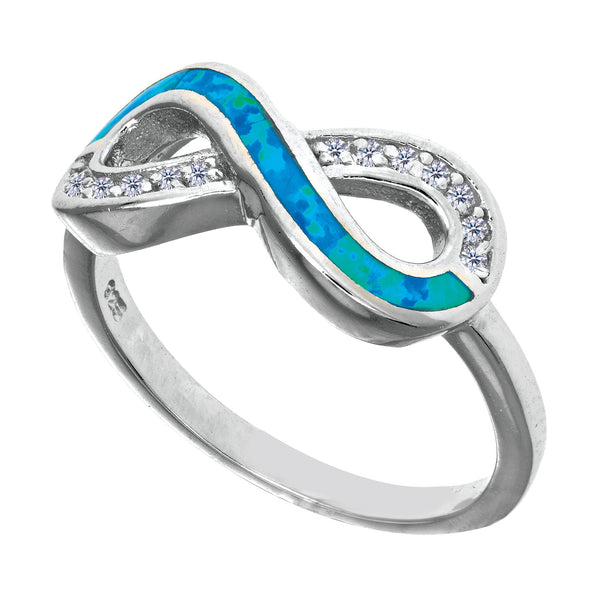 Sterling Silver With Rhodium Finish Infinity Design With Cz And Created Opal Ring - JewelryAffairs  - 1