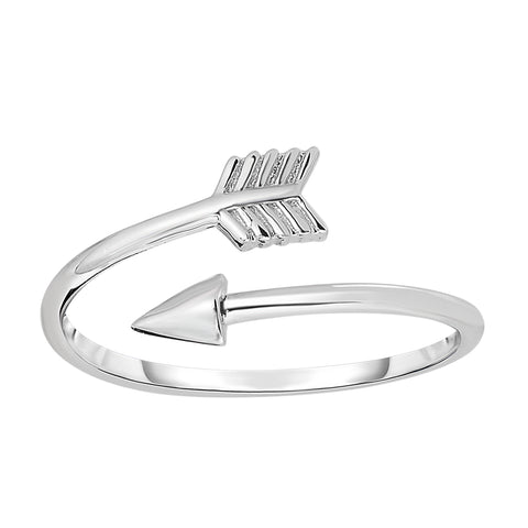 Sterling Silver With Rhodium Finish Open Bypass Arrow Ring - JewelryAffairs  - 1