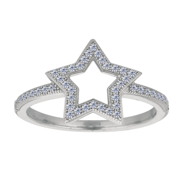 Sterling Silver With Rhodium Finish Open Star With White Cubic Zirconia Ring - JewelryAffairs  - 1