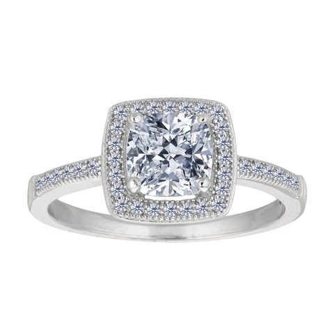 Sterling Silver With Rhodium Finish Cushion Center And Pave' Set Side Cz Stones Engagement Style Ring - JewelryAffairs  - 1