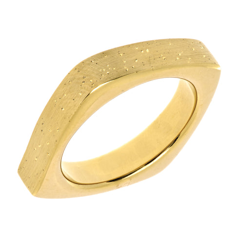 Sterling Silver With Yellow Plating Square Look Design Stardust Finish Ring - 4mm Width - JewelryAffairs  - 1