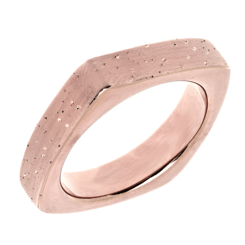 Sterling Silver With Rose Plating Square Look Design Stardust Finish Ring - 4mm Width - JewelryAffairs  - 1