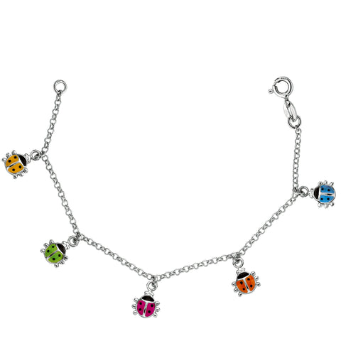 Baby Bracelet With Colorful Dangling Ladybug Charms In Sterling Silver - 6 Inches - JewelryAffairs  - 1
