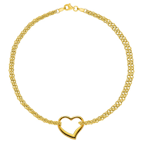 14K Yellow Gold Double Strand With Heart Anklet, 10""