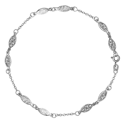 14K White Gold Fancy Ladies Anklet, 9""